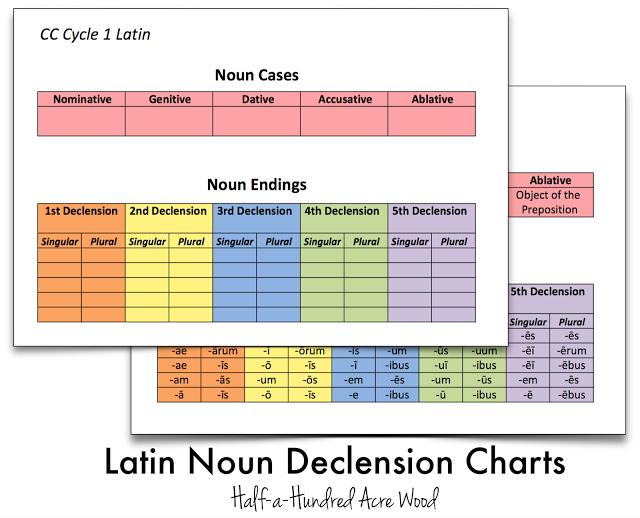 Latin Noun Declension File Folder Games & Cues {Printables} - Half a ...