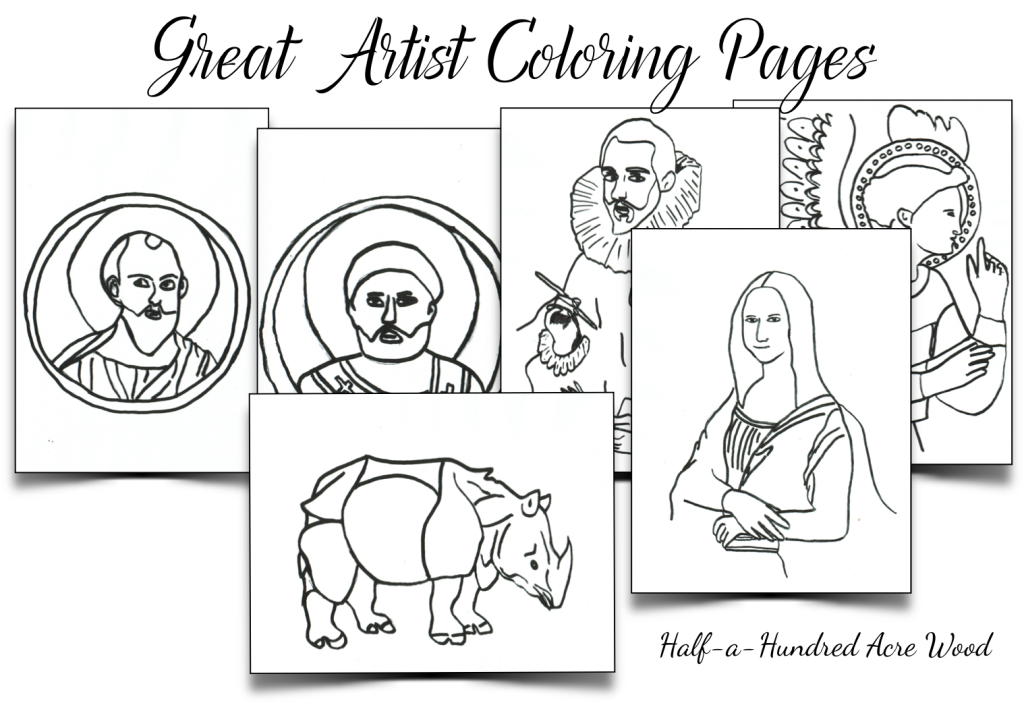 Great Artist Coloring Pages - Half a Hundred Acre Wood