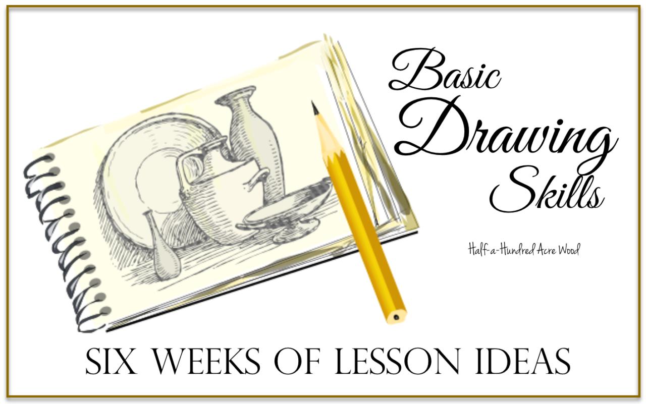 Basic Drawing Skills: Six Weeks of Lesson Ideas : Half a