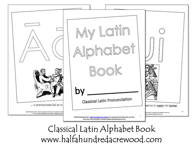 Latin Alphabet Coloring Book And Flashcards {Printables} : Half A Hundred  Acre Wood