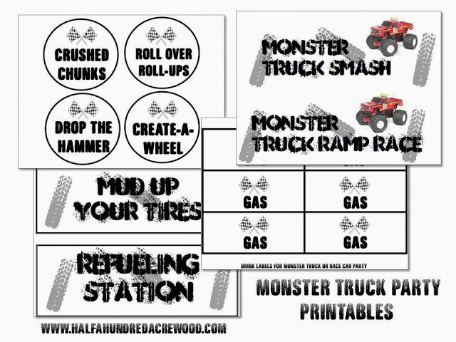 monster truck party free printables half a hundred acre wood