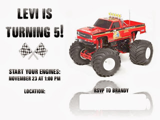 photograph about Monster Truck Birthday Invitations Free Printable referred to as Monster Truck Bash No cost Printables : 50 % a Hundred Acre Picket