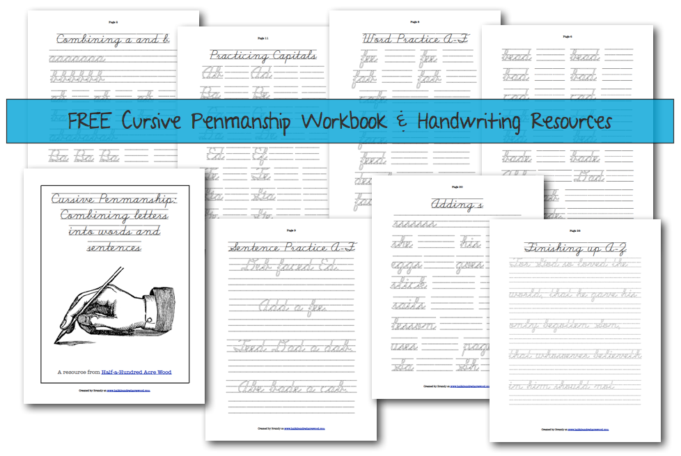 Free Handwriting Resources And Workbook : Half A Hundred Acre Wood