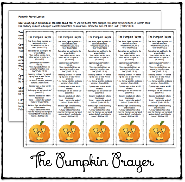 graphic about Pumpkin Gospel Printable named The Pumpkin Prayer Bookmarks and Lesson Printable : Fifty percent a