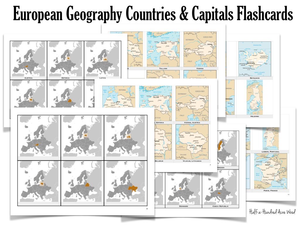 graphic regarding States and Capitals Flash Cards Printable known as Ecu Nations Capitals Flashcards : Fifty percent a Hundred