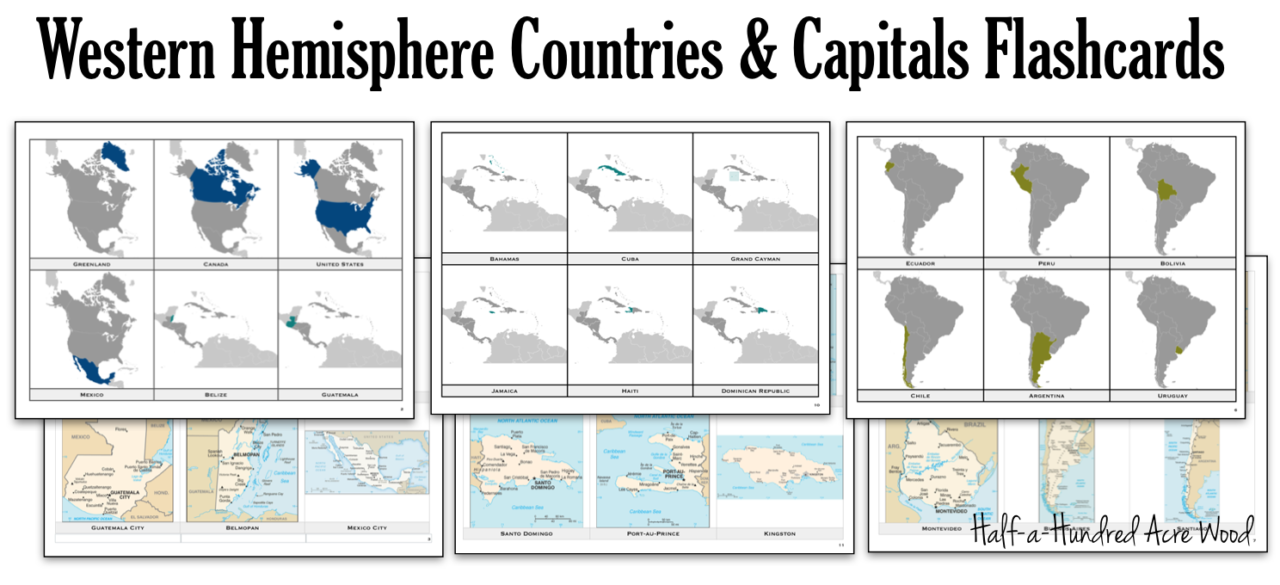 Americas U0026 Antilles Countries Capitals Flashcards   Half A Hundred Acre Wood