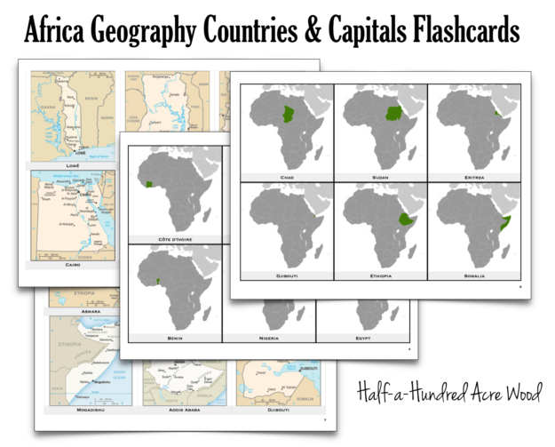 photo regarding States and Capitals Flash Cards Printable identified as Africa Nations Capitals Flashcards : 50 percent a Hundred Acre Picket