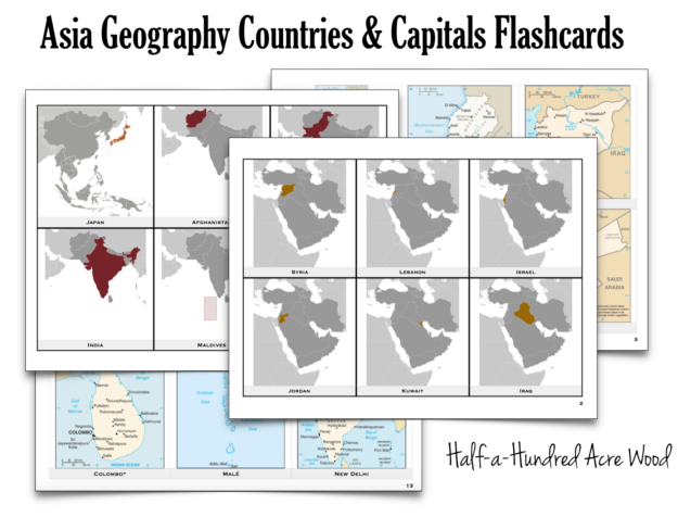 photograph relating to State and Capitals Flash Cards Printable called Asia State Capitals Flashcards : 50 % a Hundred Acre Wooden