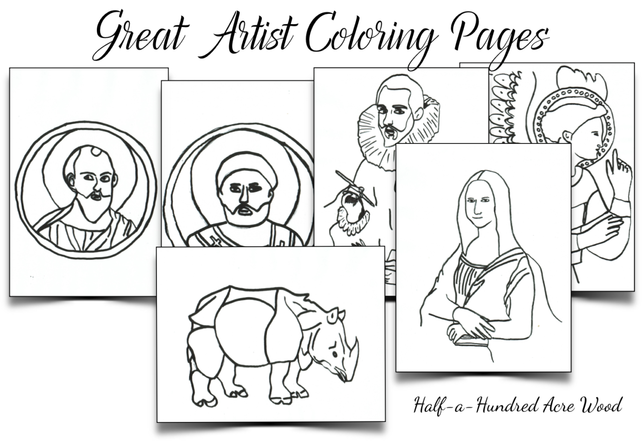 Great Artist Coloring Pages Half a Hundred Acre Wood