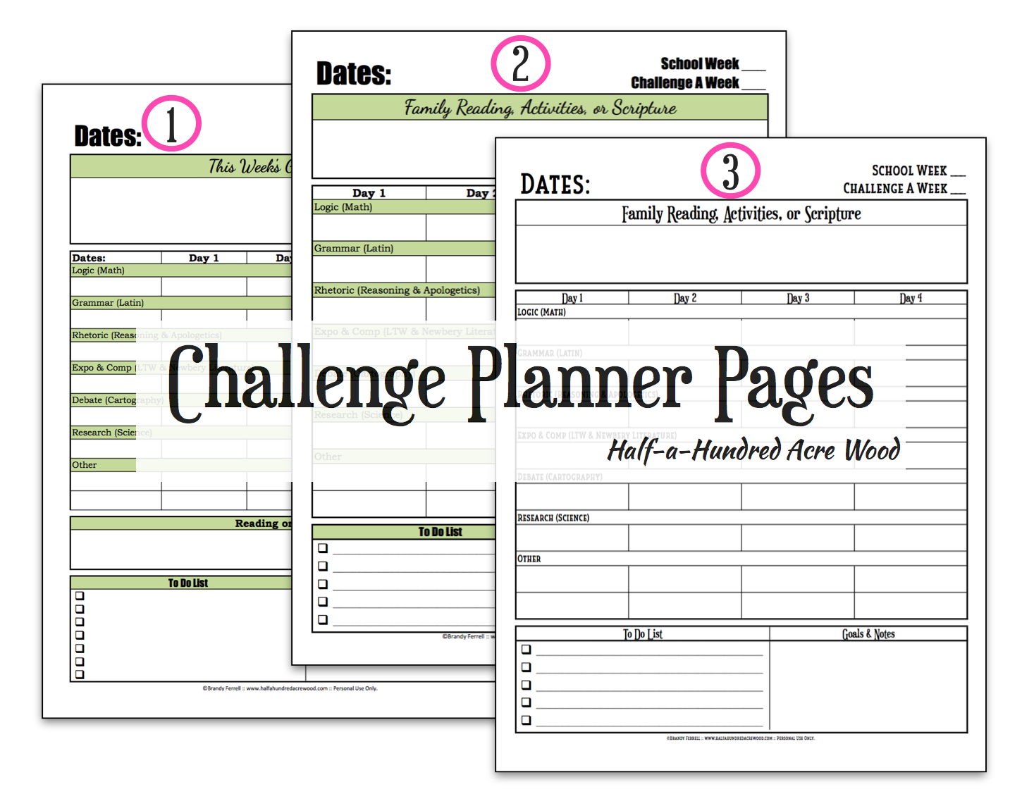 CC Challenge Planner Page {Free Printable} - Half a ...