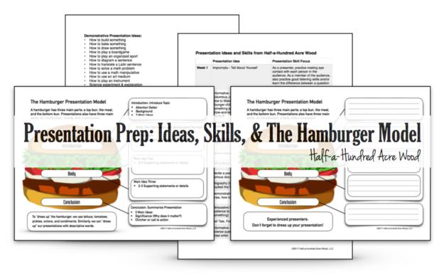 presentation prep skills ideas and the hamburger model half a