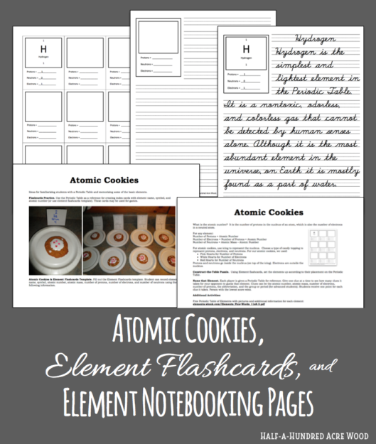 Element flashcards activities and notebooking pages half a six years have passed since we first used this simple method of learning the first twelve elements of the periodic table our atomic cookies and element urtaz